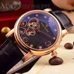 PATEK PHILIPPE-0142 潮流新款黑色配土豪金藍寶石鏡面全自動機械腕錶