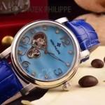 PATEK PHILIPPE-0142-14 潮流新款藍色配閃亮銀藍寶石鏡面全自動機械腕錶