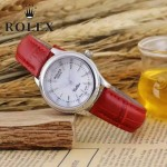 ROLEX-051-13 歐美女士紅色配閃亮銀礦物質強化玻璃進口石英腕錶