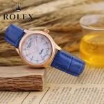 ROLEX-051-5 歐美女士藍色配土豪金礦物質強化玻璃進口石英腕錶