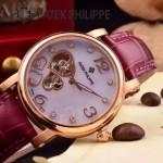PATEK PHILIPPE-0142-4 潮流新款紫色配土豪金藍寶石鏡面全自動機械腕錶
