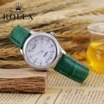 ROLEX-051-10 歐美女士綠色配閃亮銀礦物質強化玻璃進口石英腕錶