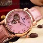 PATEK PHILIPPE-0142-5 潮流新款粉色配土豪金藍寶石鏡面全自動機械腕錶