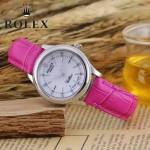 ROLEX-051-14 歐美女士玫紅色配閃亮銀礦物質強化玻璃進口石英腕錶