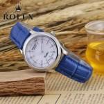 ROLEX-051-11 歐美女士藍色配閃亮銀礦物質強化玻璃進口石英腕錶