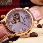 PATEK PHILIPPE-0142-3 潮流新款紅色配土豪金藍寶石鏡面全自動機械腕錶