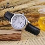 ROLEX-051-8 歐美女士黑色配閃亮銀礦物質強化玻璃進口石英腕錶
