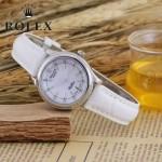 ROLEX-051-9 歐美女士白色配閃亮銀礦物質強化玻璃進口石英腕錶