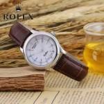 ROLEX-051-12 歐美女士褐色配閃亮銀礦物質強化玻璃進口石英腕錶