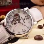 PATEK PHILIPPE-0142-9 潮流新款白色配閃亮銀藍寶石鏡面全自動機械腕錶