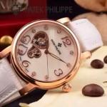 PATEK PHILIPPE-0142-6 潮流新款白色配土豪金藍寶石鏡面全自動機械腕錶