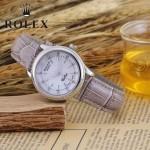 ROLEX-051-15 歐美女士灰紫色配閃亮銀礦物質強化玻璃進口石英腕錶