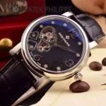 PATEK PHILIPPE-0142-12 潮流新款黑色配閃亮銀藍寶石鏡面全自動機械腕錶