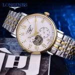 Longines-99-01 浪琴316L精鋼表帶藍寶石水晶玻璃男式飛輪腕表
