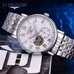 Longines-99-02 浪琴316L精鋼表帶藍寶石水晶玻璃男式飛輪腕表