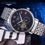 Longines-99-03 浪琴316L精鋼表帶藍寶石水晶玻璃男式飛輪腕表