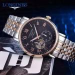Longines-99-04 浪琴316L精鋼表帶藍寶石水晶玻璃男式飛輪腕表