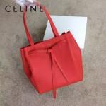 CELINE 2208 簡約時尚單品紅色荔枝紋原版皮束口手提單肩包