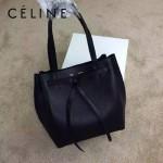 CELINE 2208-4 簡約時尚單品黑色荔枝紋原版皮束口手提單肩包