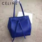 CELINE 2208-2 簡約時尚單品藍色荔枝紋原版皮束口手提單肩包