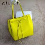 CELINE 2208-3 簡約時尚單品黃色荔枝紋原版皮束口手提單肩包