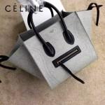 CELINE 9901-3 歐美百搭新款淺灰色帆布配原版皮手提蝙蝠包
