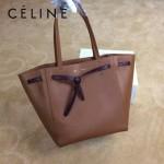 CELINE 2208-5 簡約時尚單品土黃色原版皮束口手提單肩包