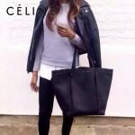 CELINE 2208-6 簡約時尚單品黑色原版皮束口手提單肩包