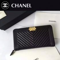 CHANEL 0257 歐美新款LEBOY V格黑色原版小羊皮金扣拉鏈錢包