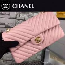 CHANEL 5023-7 歐美百搭新款CF大V字型粉色原版羊皮金扣單肩斜挎包