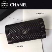 CHANEL 0258-2 人氣熱銷LEBOY V格黑色原版小羊皮銀扣長款錢包