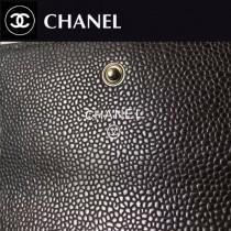 CHANEL 0259 潮流復古風LEBOY系列黑色原版魚子醬皮兩折錢包