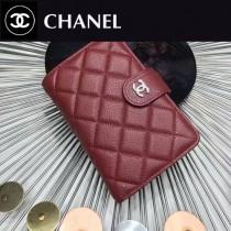 CHANEL 0266-2 歐美百搭棗紅色原版魚子醬皮銀扣兩折中夾