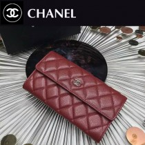 CHANEL 0265-3 時尚女士棗紅色原版魚子醬皮銀扣兩折長夾