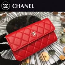 CHANEL 0265-6 時尚女士紅色原版魚子醬皮銀扣兩折長夾