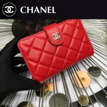 CHANEL 0266-3 歐美百搭紅色原版魚子醬皮金扣兩折中夾