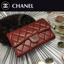 CHANEL 0267-3 人氣熱銷棗紅色原版魚子醬皮銀扣三折錢包