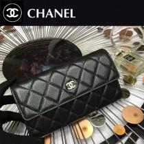 CHANEL 0265 時尚女士黑色原版魚子醬皮銀扣兩折長夾