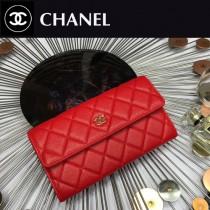 CHANEL 0265-5 時尚女士紅色原版魚子醬皮金扣兩折長夾