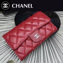CHANEL 0267-6 人氣熱銷紅色原版魚子醬皮銀扣三折錢包