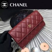 CHANEL 0265-4 時尚女士棗紅色原版魚子醬皮金扣兩折長夾
