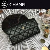 CHANEL 0265-2 時尚女士黑色原版魚子醬皮金扣兩折長夾