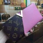LV M56174-2 人氣熱銷新款Kimono經典老花配粉色皮長款錢包