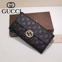GUCCI 369663 專櫃時尚新款黑色全皮壓花系列長夾