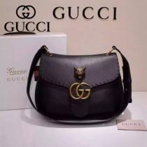 GUCCI 409154-03 專櫃時尚新款黑色全皮時尚斜挎袋