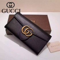 GUCCI 400568 專櫃時尚新款黑色全皮系列長夾