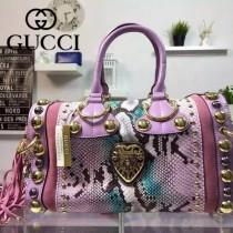 GUCCI 207296 歐美朋克風鉚釘裝飾粉色牛皮配蟒蛇皮手提包波士頓包