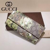GUCCI 403022-03 專櫃時尚新款PVC配牛皮絲印系列配粉色內裡長夾