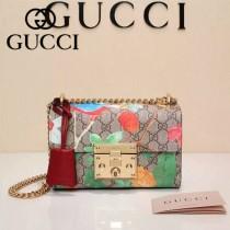 GUCCI 409487-02 專櫃時尚新款Padlock GG Blooms天竺葵印花圖案肩背包