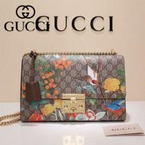GUCCI 409486-01 專櫃時尚新款Padlock Gucci Tian系列圖案印花肩背包